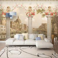 3D立体欧式罗马柱油画 客厅电视沙发背景墙 无缝无纺布壁画定制