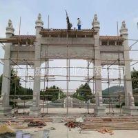 厂家设计生产石牌坊寨门 三门花岗岩优质石雕牌楼