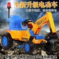 儿童电动挖掘机挖土机可坐可骑脚踏工程车电动推土机沙滩玩具车