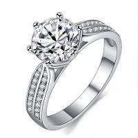 跨镜经典六爪戒指 镀白金钻石女戒 超sona钻戒欧美奢华外贸饰品