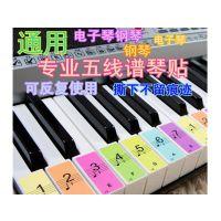 谱练习纸黑贴纸入门教学简白标识模拟钢琴键盘88键白键五线谱