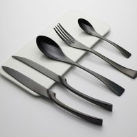 黑色 卡雅系列不锈钢 刀叉勺套装黑色餐刀牛排刀叉勺西餐具五件套