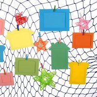 渔网相片墙 纸质相框幼儿园作品装饰吊饰照片墙面布置送木夹麻绳