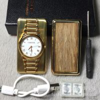 创意多功能红木手表充电钨丝打火机 男士生日礼物礼品定制刻字