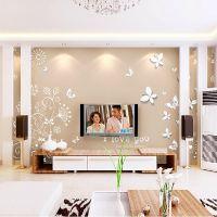 3D立体墙纸客厅卧室电视背景墙壁纸现代简约蝶恋花墙布大型壁画