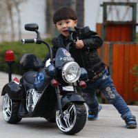 新款哈雷儿童电动车 儿童大型电动摩托车 双驱小孩可坐玩具车