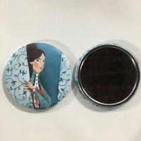 马口铁卡通图案小镜子 携带便携式小礼品小圆镜 员工福利奖品