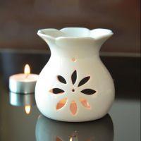 行香陶瓷香薰炉 家居家用香薰精油樱花炉蜡烛镂空莲花炉熏香炉 六角杯炉