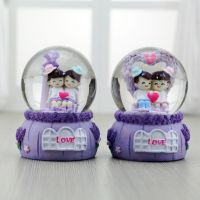 欧式小创意新款男孩女孩水晶球礼物 树脂发光摆件跨境供货