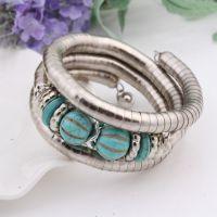 欧美新款复古蛇形手镯 蛇骨造型绿松石手镯 速卖通淘宝爆款手环