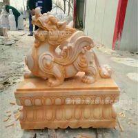 济宁嘉祥石雕厂家专业生产设计汉白玉貔貅雕刻 大门摆放石麒麟