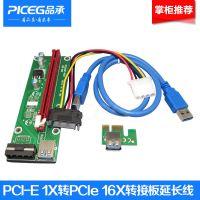 PCI-E 1X转16X延长线006  USB3.0挖矿线专用转接卡 显卡延长线