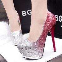 313-204时尚韩版细跟夜店性感超高跟女鞋 防水台显瘦低帮单鞋