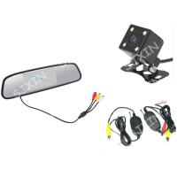 倒车影像系统 4.3寸后视镜+方形可调带灯夜视摄像头+无线收发器
