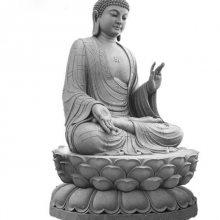 坐像释迦牟尼佛石雕|花岗岩三宝佛石雕像|坐像阿弥陀佛石像