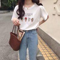 微笑短袖t恤女闺蜜装学生半袖上衣宽松百搭韩版白色体恤衫厂家直销