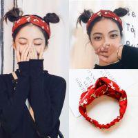 日韩可爱小狗印花红色发带韩国气质时尚个性头饰头带喜庆红色发饰