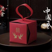 喜鹊款婚礼烫金喜糖盒 个性方形结婚喜糖袋 婚庆用品中国风纸糖盒
