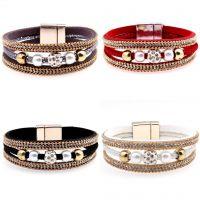 欧美韩国绒皮革磁扣手链镀金珍珠镶钻磁扣欧美流行合金手镯镶钻