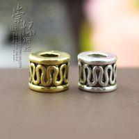 藏银饰品配件批发7x5mm藏文桶珠隔珠 diy佛珠串珠手工材料
