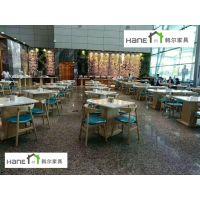南京工业园区员工餐厅桌椅 实木桌椅定制 韩尔简约品牌