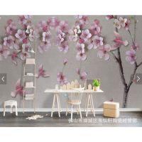 供应佛山玉弘轩现代粉红色温馨唯美瓷砖客厅背景墙沙发背景墙