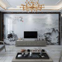 定制背景墙瓷砖新中式高温微晶大理石山水画客厅岗石护墙板背景墙