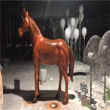 定做玻璃钢战马雕塑,佛山广场公园玻璃钢动物雕塑摆件