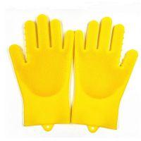 二代升级版硅胶洗碗手套 短款二代硅胶家务手套 硅胶毛刷手套防滑