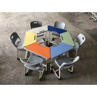 彩色双人小课桌-彩色儿童学习桌-单双人课桌辅导班美术桌