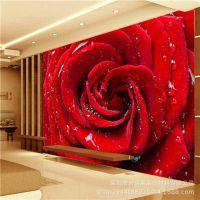 无缝大型壁画客厅电视背景墙壁纸卧室床头墙布玫瑰花卉3d立体墙