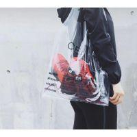 0002PVC透明购物袋托特包袋网红超大大容量夏天果冻包女包超市