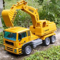 厂家直批1:12儿童玩具 惯性仿真合金挖掘机 男孩工程车静态车模型