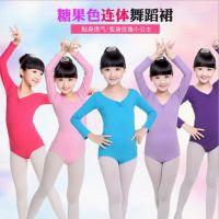 新款儿童舞蹈服练功女童长袖连体服装芭蕾练功服幼儿体操服夏季