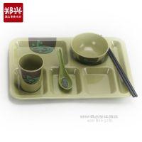 六格塑料快餐盘批发餐厅食堂长方形分格盘密胺美耐皿仿瓷特色餐具