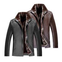 广州男装皮衣外套便宜批发中老年男装加厚保暖皮衣外套便宜批发