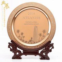 浮雕纯铜纪念盘定制厂家 海外商会成立纪念品 馈赠感谢牌批发