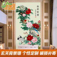 佛山国画工笔画孔雀花开富贵牡丹图玄关客厅背景墙