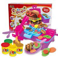 厂家直销3D橡皮泥汉堡烧烤机模具工具彩泥套装儿童DIY玩具8818B