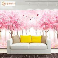 厂家直销无缝壁画唯美浪漫粉色花海风景客厅电视背景墙壁画墙布