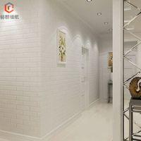 厂家直销PVC立体砖纹白色发泡工程墙纸 服装店面影楼砖块壁纸