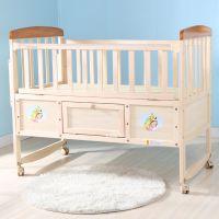 无漆摇床实木蚊帐摇篮床带儿童婴儿床宝宝床星月bb床新生童话