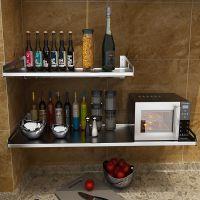 不锈钢厨房置物架挂壁微波炉架壁挂电饭锅烤箱架子悬挂式墙上隔板