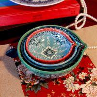 礼品.摆件欧式陶瓷计量碗 手工点饰精品.缤纷色