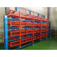 杭州双悬臂货架价格 伸缩式管材货架效果图 放10米圆钢