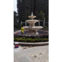 广场大型大理石喷泉黄锈石雕塑菠萝喷泉立体流水欧式水钵