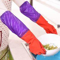 热卖加绒长款洗碗手套 保暖防水橡胶手套洗碗洗衣家务手套跨境