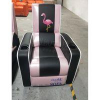 赤虎定制出口电影院沙发项目,简约皮制影院座椅带刺绣图案