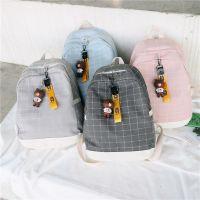 韩国格子帆布双肩包2018新款马卡龙多色小清新挂件文艺女校园背包