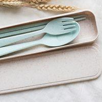 小麦秸秆餐具套装 无毒筷勺叉三件套 环保便携餐具旅行套装批发